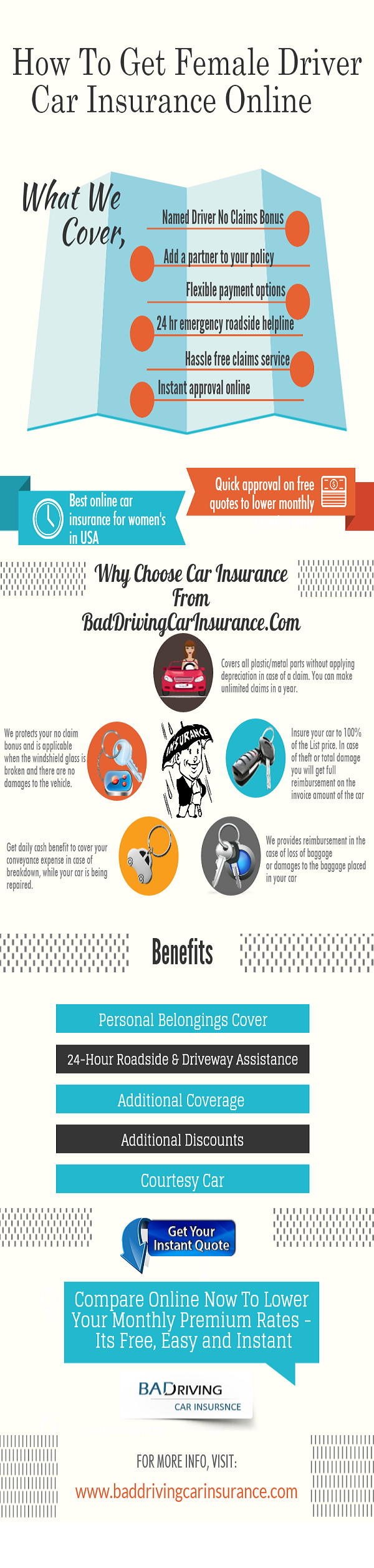 Infographic How To Get Female Driver Car Insurance
